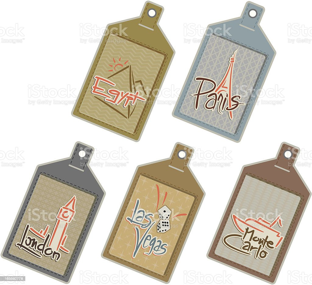 Six Worldwide Luggage Tags vector art illustration