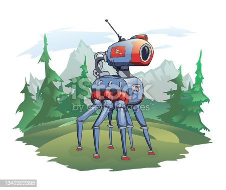 istock A six-legged robot stands against the background of a mountain landscape. A robotic animal in the wild nature, a post-apocalyptic plot. Vector illustration, isolated on white. 1342322395