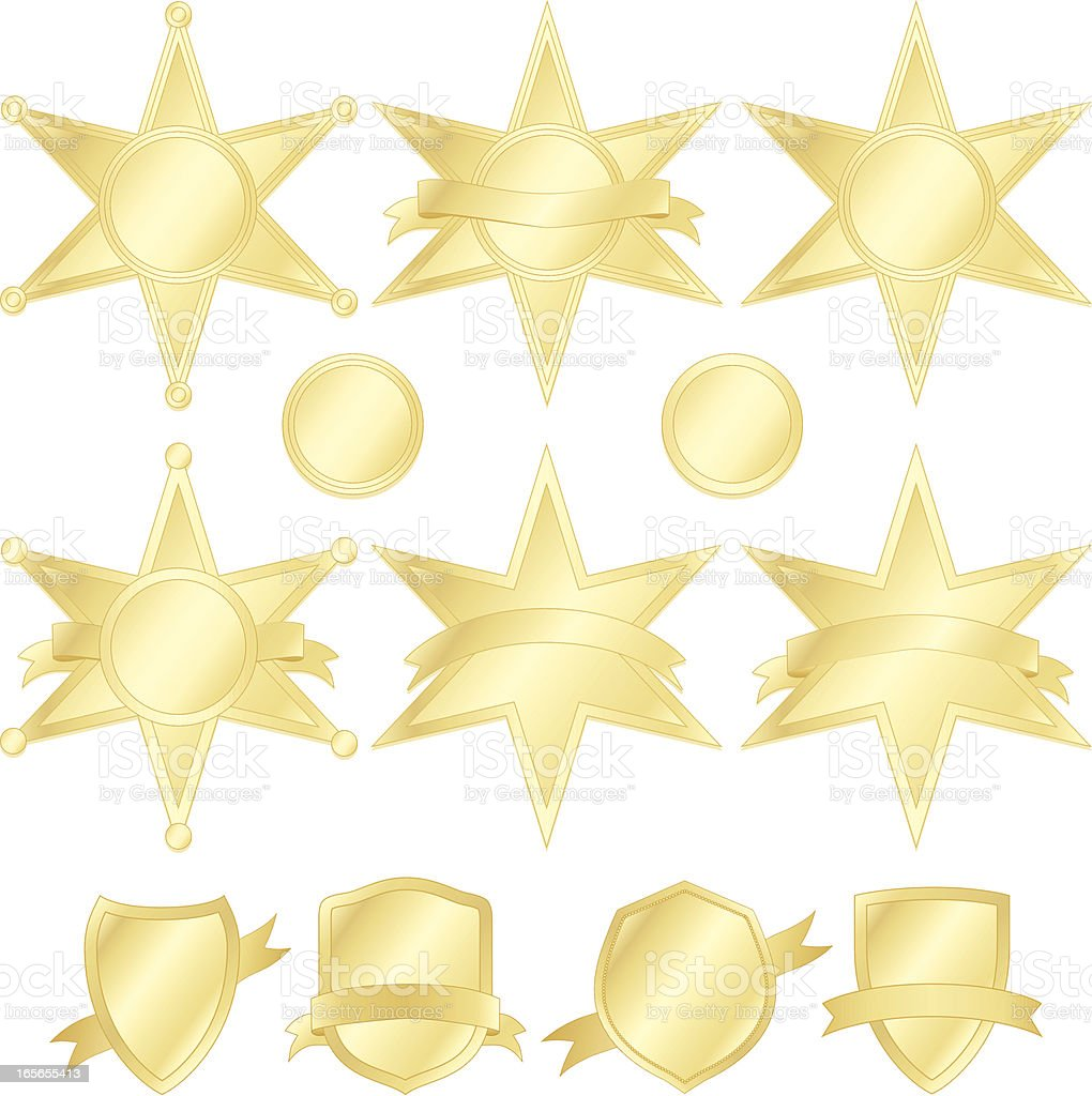 Six-Point Stars, Police Badges, and Shields Set - Gold royalty-free stock vector art