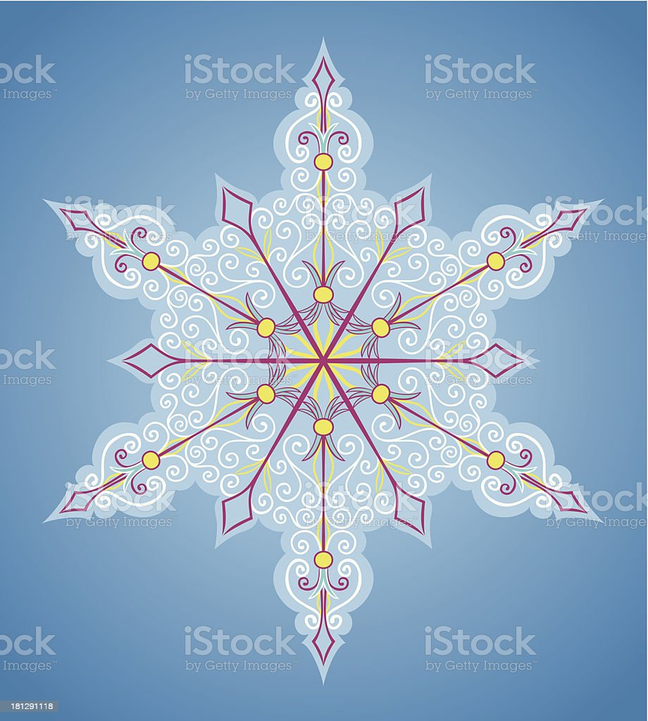 Six-sided pattern like snowflake royalty-free stock vector art