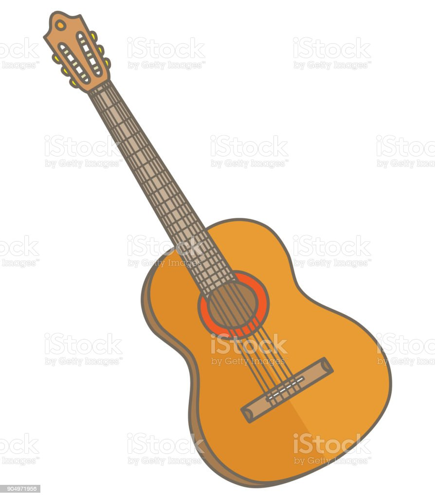 Six-string acoustic guitar vector art illustration