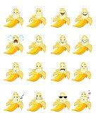 Vector illustration of a sixteen banana emojis