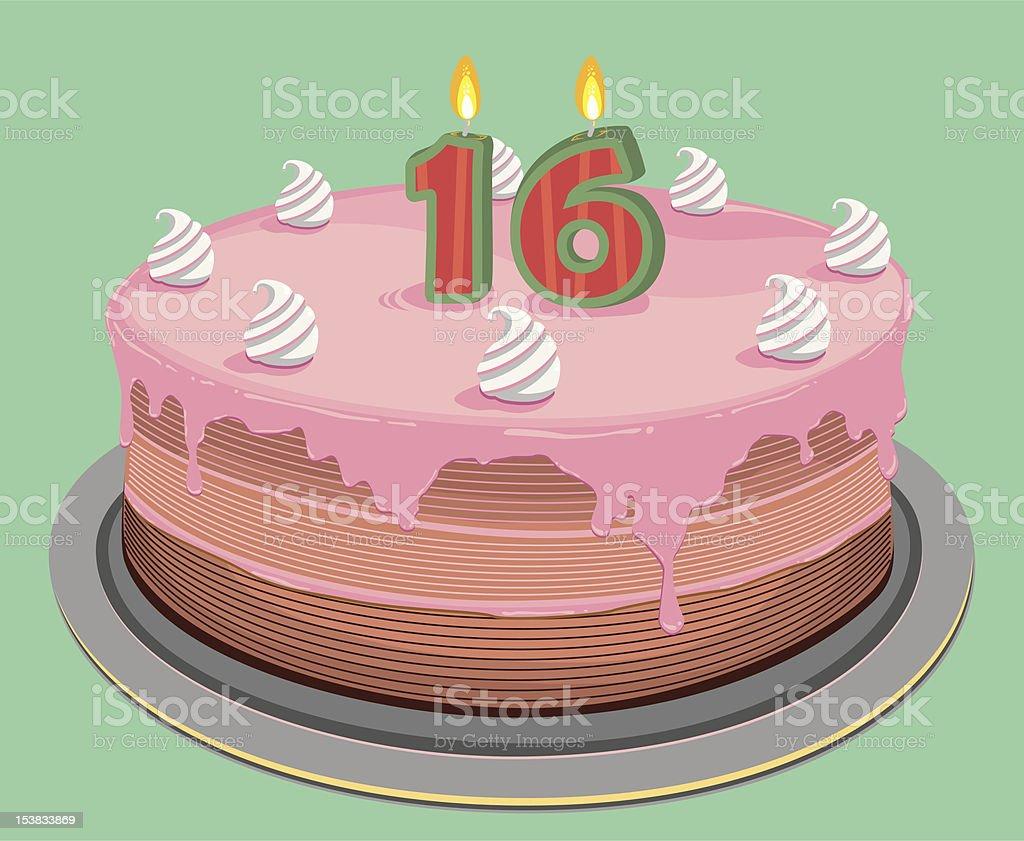 Sixteen Birthday Cake royalty-free stock vector art