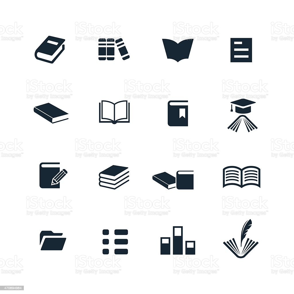 Sixteen black and white book icons vector art illustration