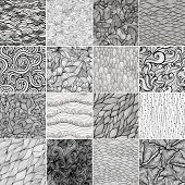 Sixteen black and white wave patterns (seamlessly tiling).Seamless pattern can be used for wallpaper, pattern fills, web page background,surface textures. Gorgeous seamless wave background
