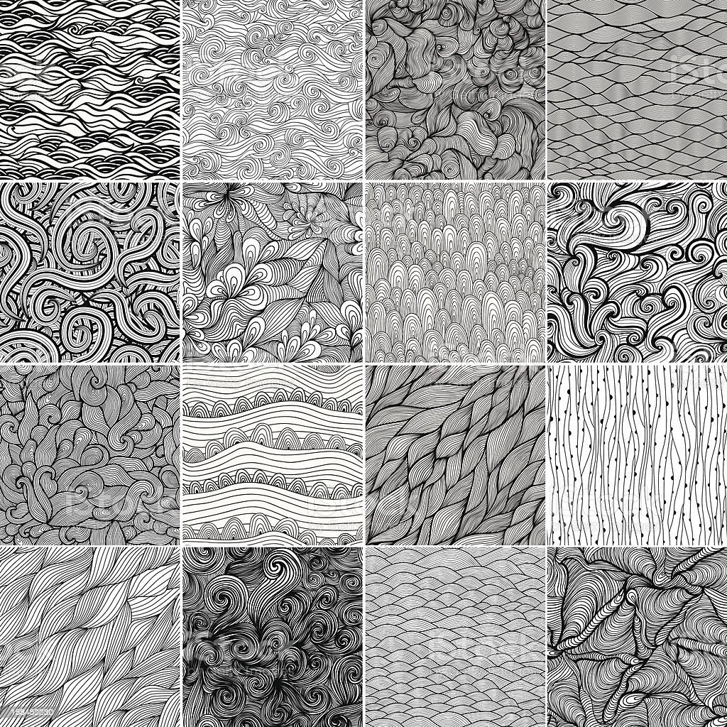 Sixteen black and white wave patterns vector art illustration