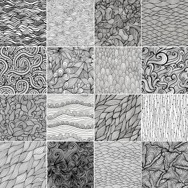 sechzehn schwarz und weiß wave muster - pflanzenhaar stock-grafiken, -clipart, -cartoons und -symbole