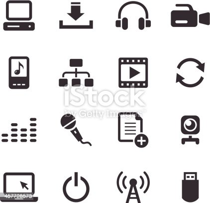 An illustration of media icons set for your web page, presentation, & design products.