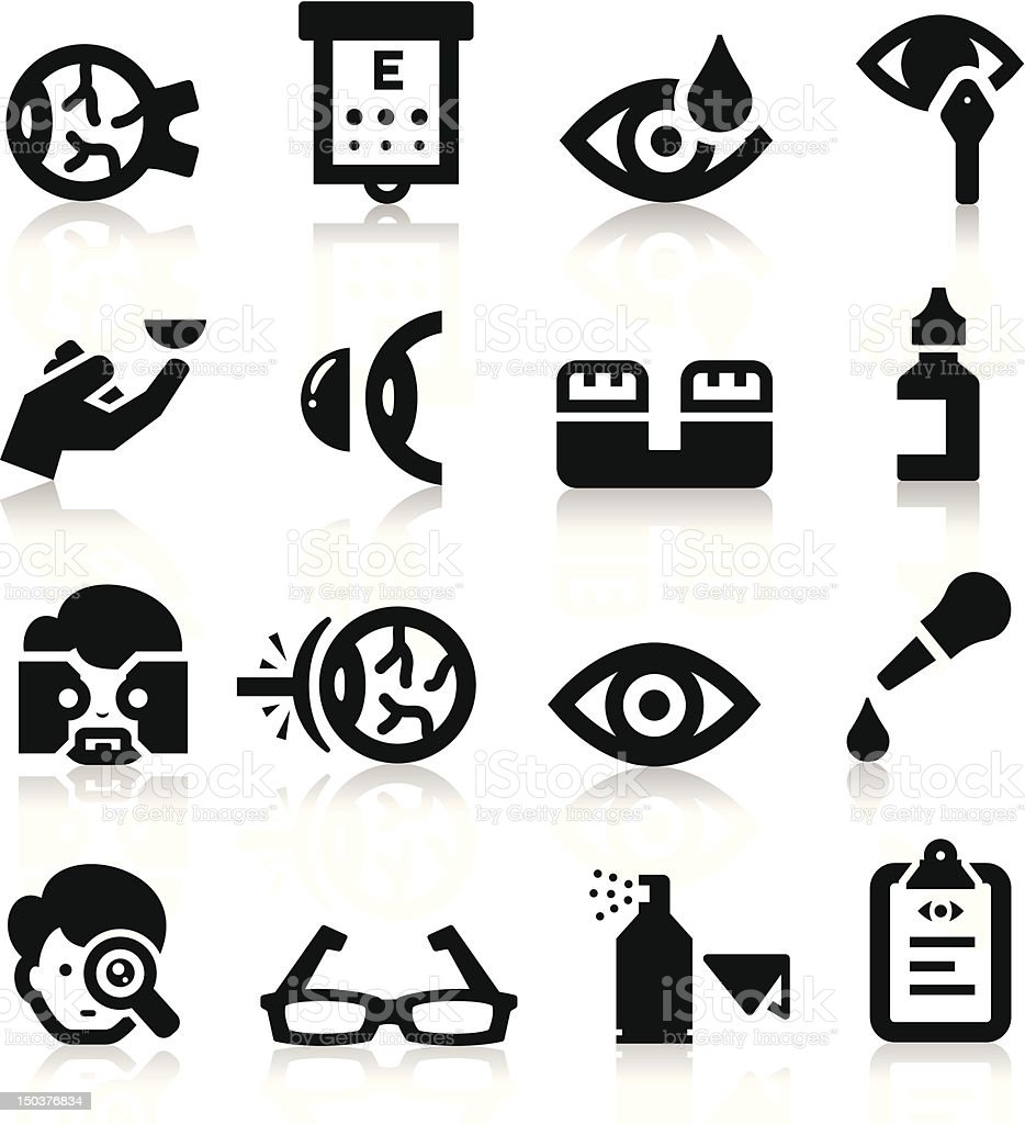 Sixteen black icons related to optometry vector art illustration