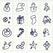 Vector File of Doodle Christmas Icon Set