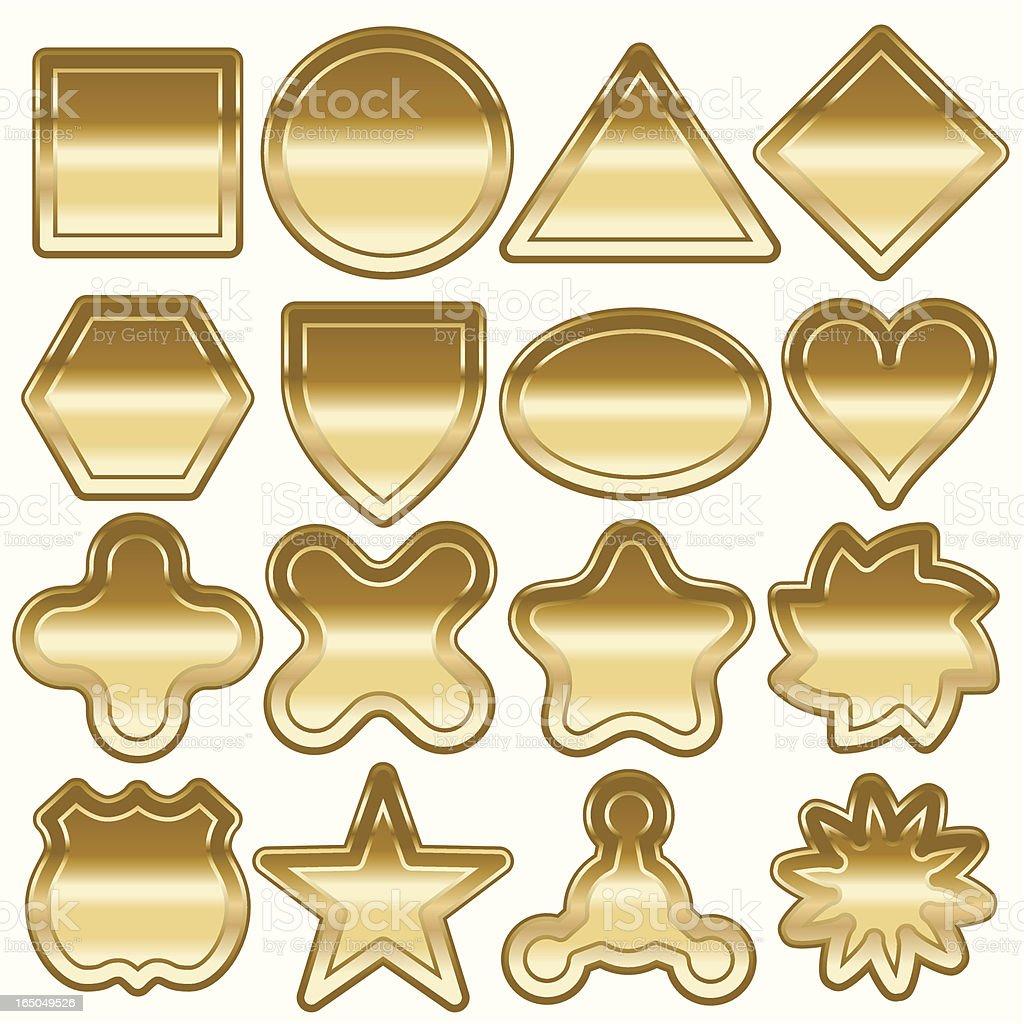 Sixteen Bright Gold Shapes royalty-free stock vector art