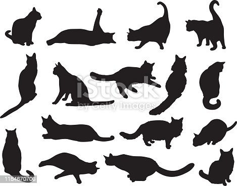 Vector illustration of sixteen cat silhouettes.