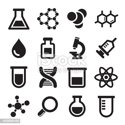 Chemical icons set on white background. Vector.