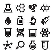 Sixteen chemical science icons