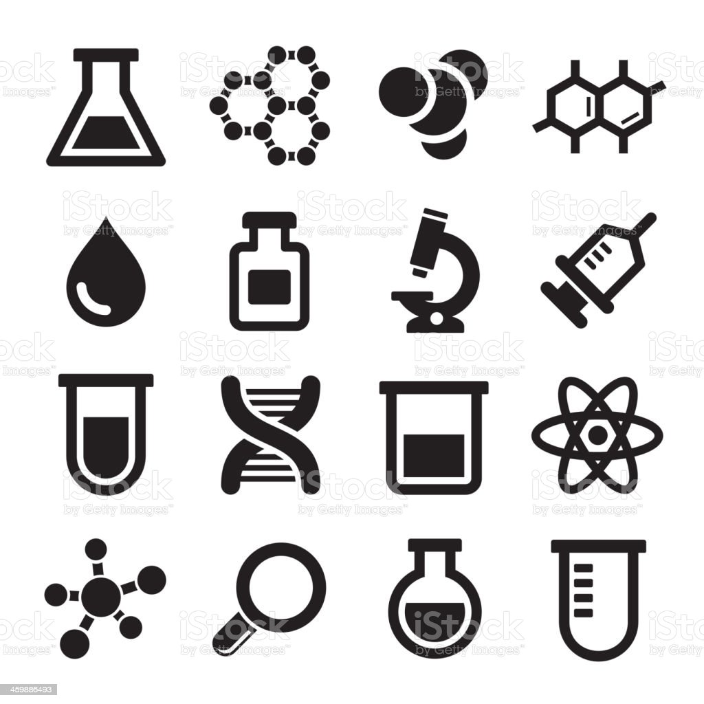 Sixteen chemical science icons vector art illustration