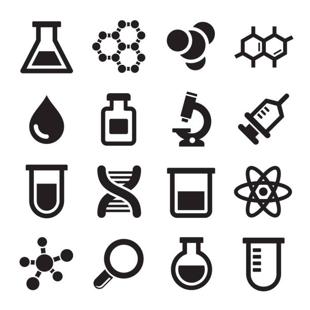 Sixteen chemical science icons Chemical icons set on white background. Vector. beaker stock illustrations