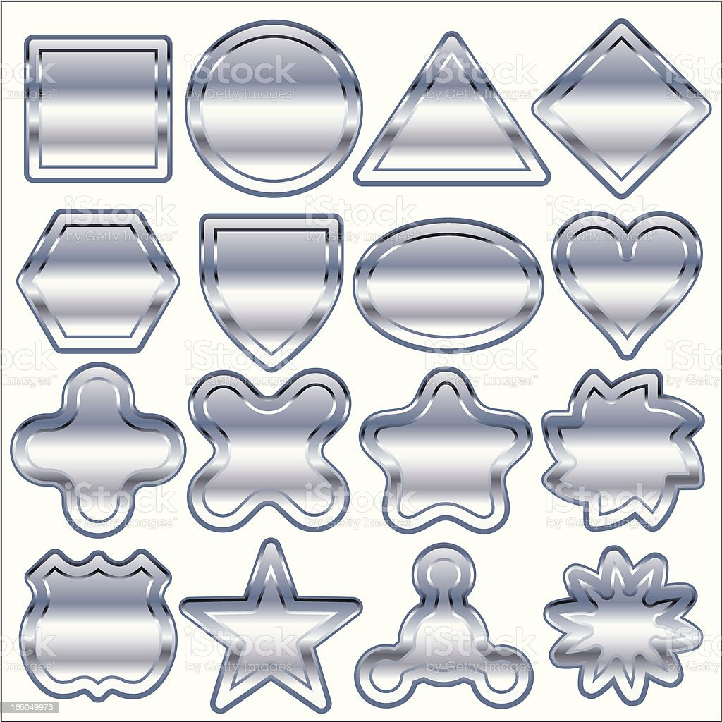 Sixteen Chrome Only Shapes royalty-free sixteen chrome only shapes stock vector art & more images of aluminum