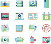 Sixteen colorful photography icons