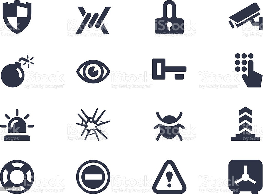Sixteen different security icons  vector art illustration