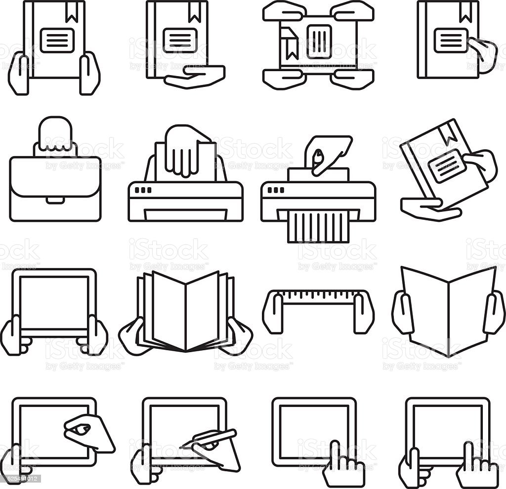 Sixteen flat style black outline computer icons vector art illustration