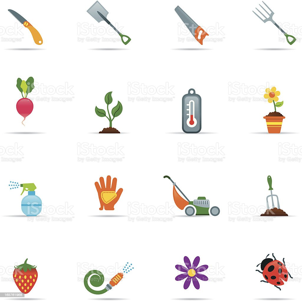 Sixteen gardening icons on a white background royalty-free stock vector art