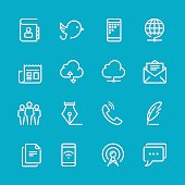 Sixteen line icons for communication concepts
