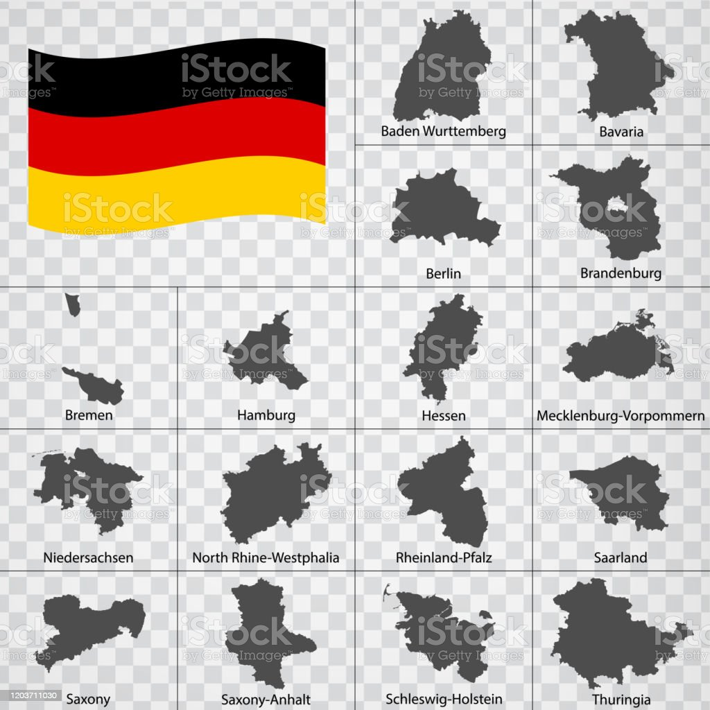 Sixteen Maps German Lands Alphabetical Order With Name Every Single Map Of State Are Listed And Isolated With Wordings And Titles Federal Republic Of Germany Regions Eps10 Stock Illustration Download Image