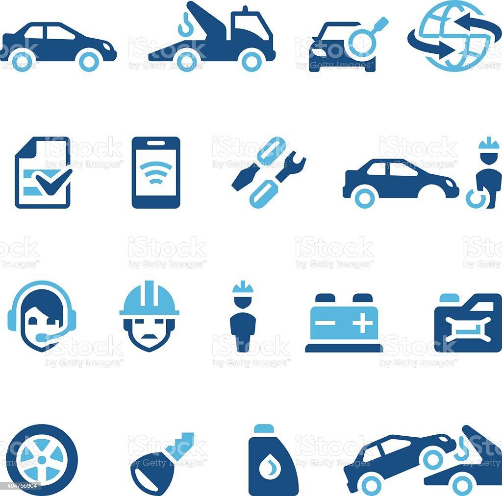 Sixteen navy blue auto insurance icons vector art illustration