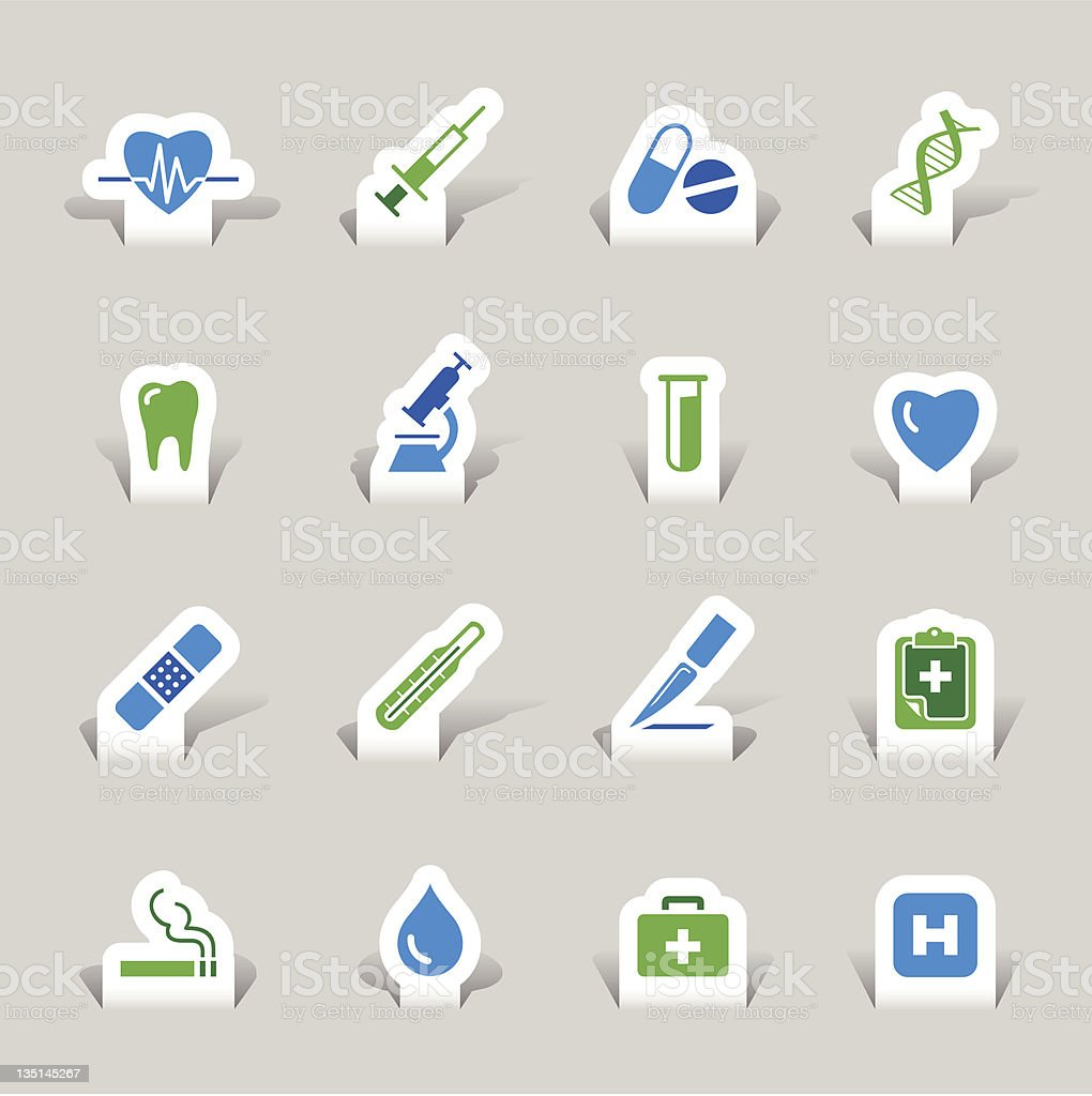 Sixteen paper cut-out medical icons in green and blue  royalty-free stock vector art