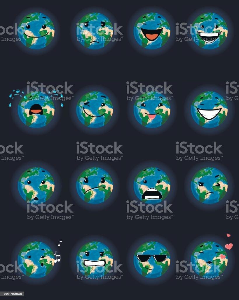 Sixteen planet faces vector art illustration