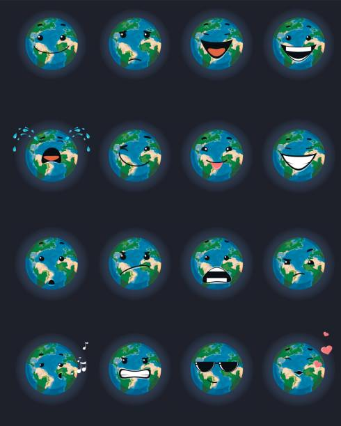 sixteen planet faces - jealous emoji stock illustrations, clip art, cartoons, & icons