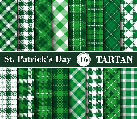Sixteen Set of Tartan Seamless Patterns St. Patrick's Day