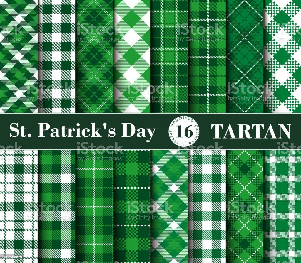 Sixteen Set of Tartan Seamless Patterns St. Patrick's Day vector art illustration