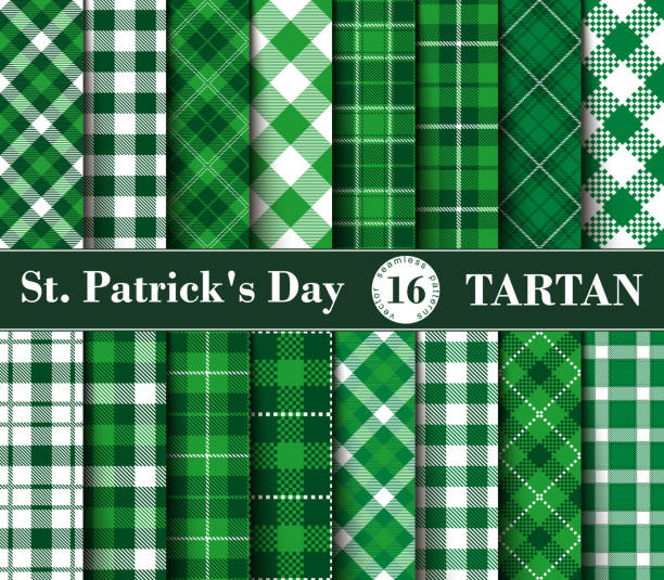 Sixteen Set of Tartan Seamless Patterns St. Patrick's Day vector art illustration