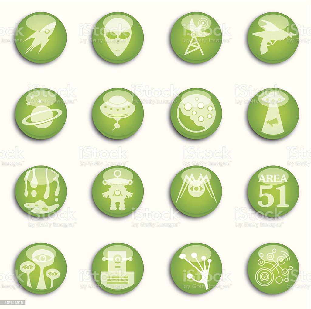 Sixteen Shiny Alien Icons vector art illustration