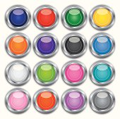 Vector illustration of sixteen shiny buttons.