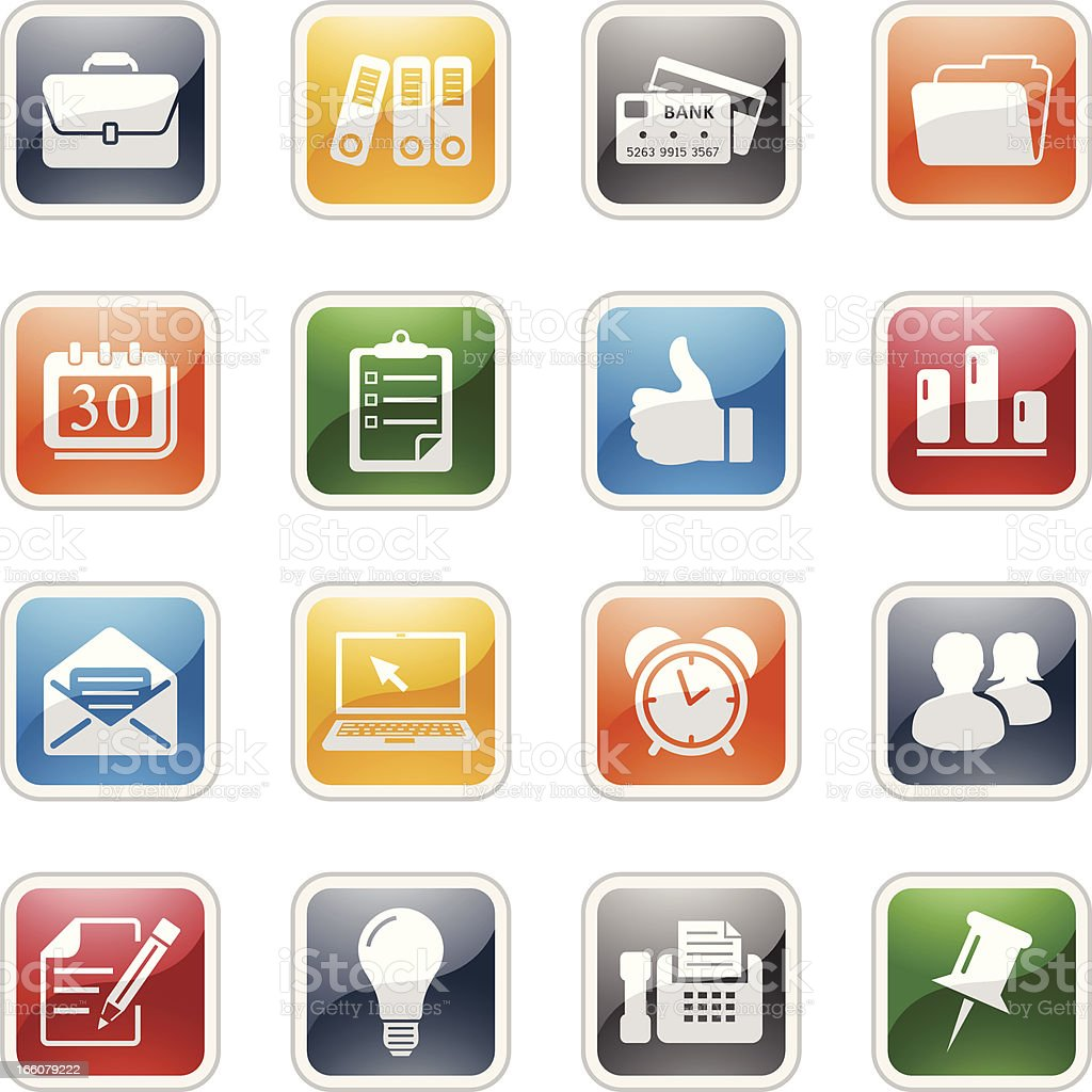 Sixteen simple colored office and business icons royalty-free sixteen simple colored office and business icons stock vector art & more images of alarm clock