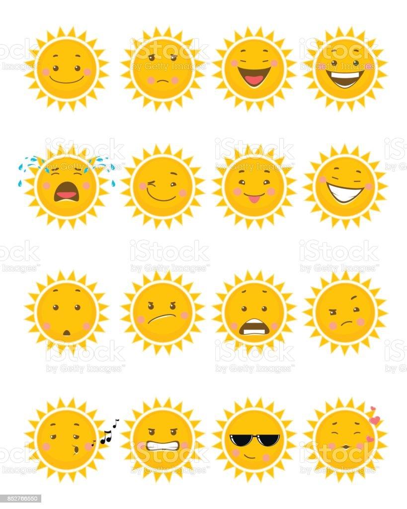 Sixteen sun emojis vector art illustration