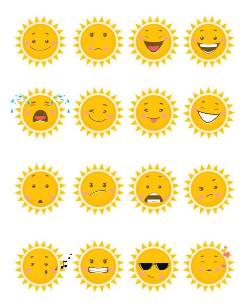 sixteen sun emojis - jealous emoji stock illustrations, clip art, cartoons, & icons