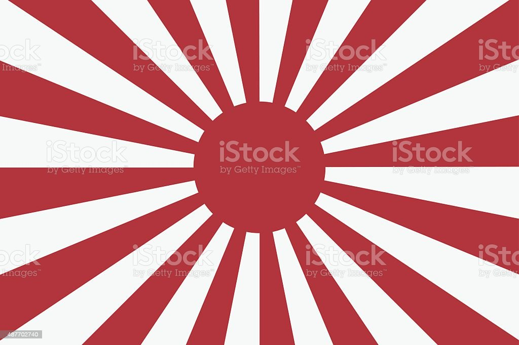 Sixteen Sun rays of Japanese navy flag 2 vector art illustration