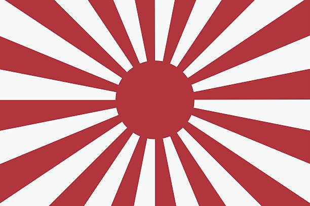 ilustraciones, imágenes clip art, dibujos animados e iconos de stock de dieciséis de los rayos de sol japonés navy bandera 2 - bandera japonesa