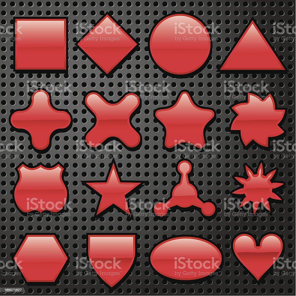 Sixteen Super Red Shapes royalty-free stock vector art