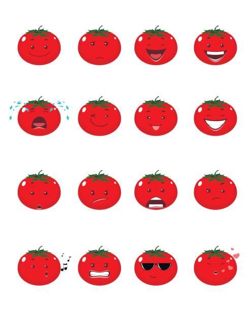 ilustraciones, imágenes clip art, dibujos animados e iconos de stock de 16 tomates emojis - emoji celoso