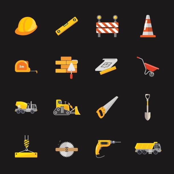 stockillustraties, clipart, cartoons en iconen met zestien onder bouw pictogrammen - kruiwagen met gereedschap