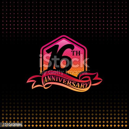 16th anniversary celebration logotype pink and yellow colored.  sixteen years birthday logo on black background.