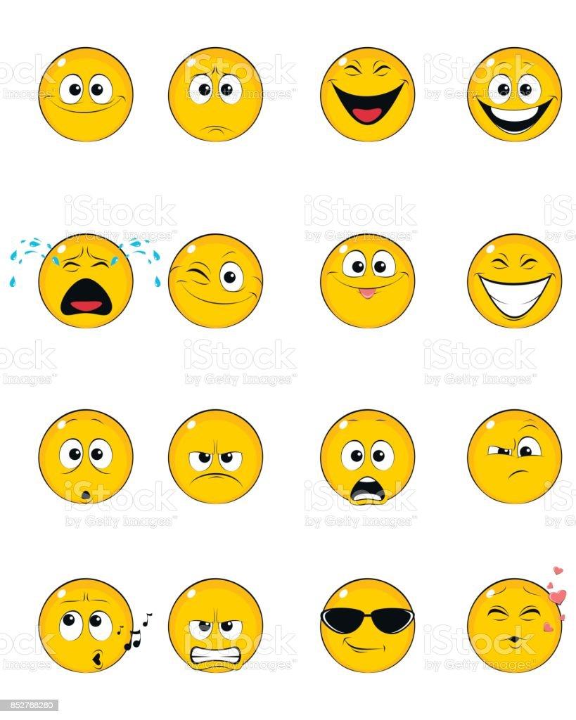 Sixteen yellow faces vector art illustration