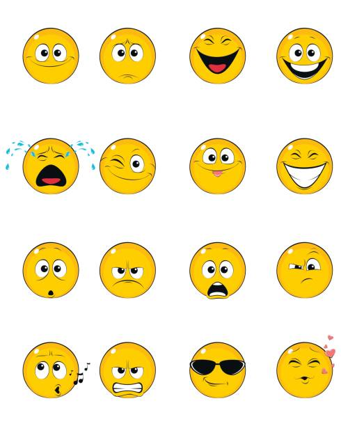 sixteen yellow faces - jealous emoji stock illustrations, clip art, cartoons, & icons