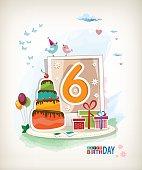 Sixth Birthday card. Birthday cake and photos