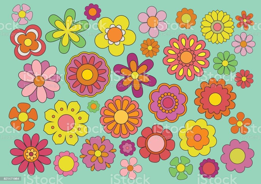 Jaren zestig bloemen - Royalty-free 1960 vectorkunst