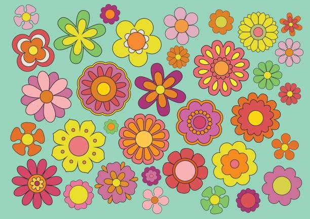 sixties flowers - hippie fashion stock illustrations, clip art, cartoons, & icons